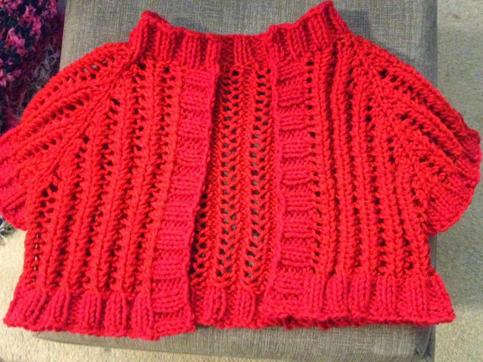 Bolero Knitting Pattern : Camys Loft: Lacy Red Bolero knit pattern