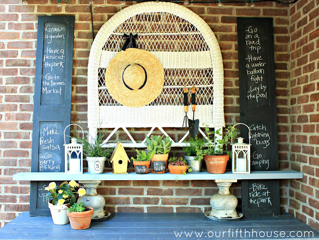 summer list & potting bench