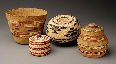 Tlingit Cylinder, c. 1920, Makah Lidded bowl, c. 1970,  Lower Klamath River Woman's cap, c. 1920,  Tlingit Jar with rattle lid, c. 1909