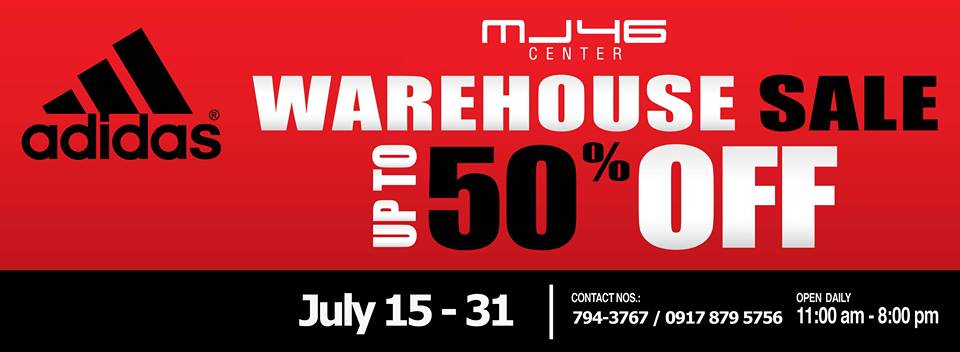 Check out the Adidas Warehouse SALE on July 15 - 31, 2013 from 11am to