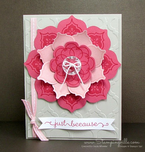 Stampin' Up! Mosiac Madness flower blossom for cards and gifts. Tutorial by Gayle Wheeler - Stampingville