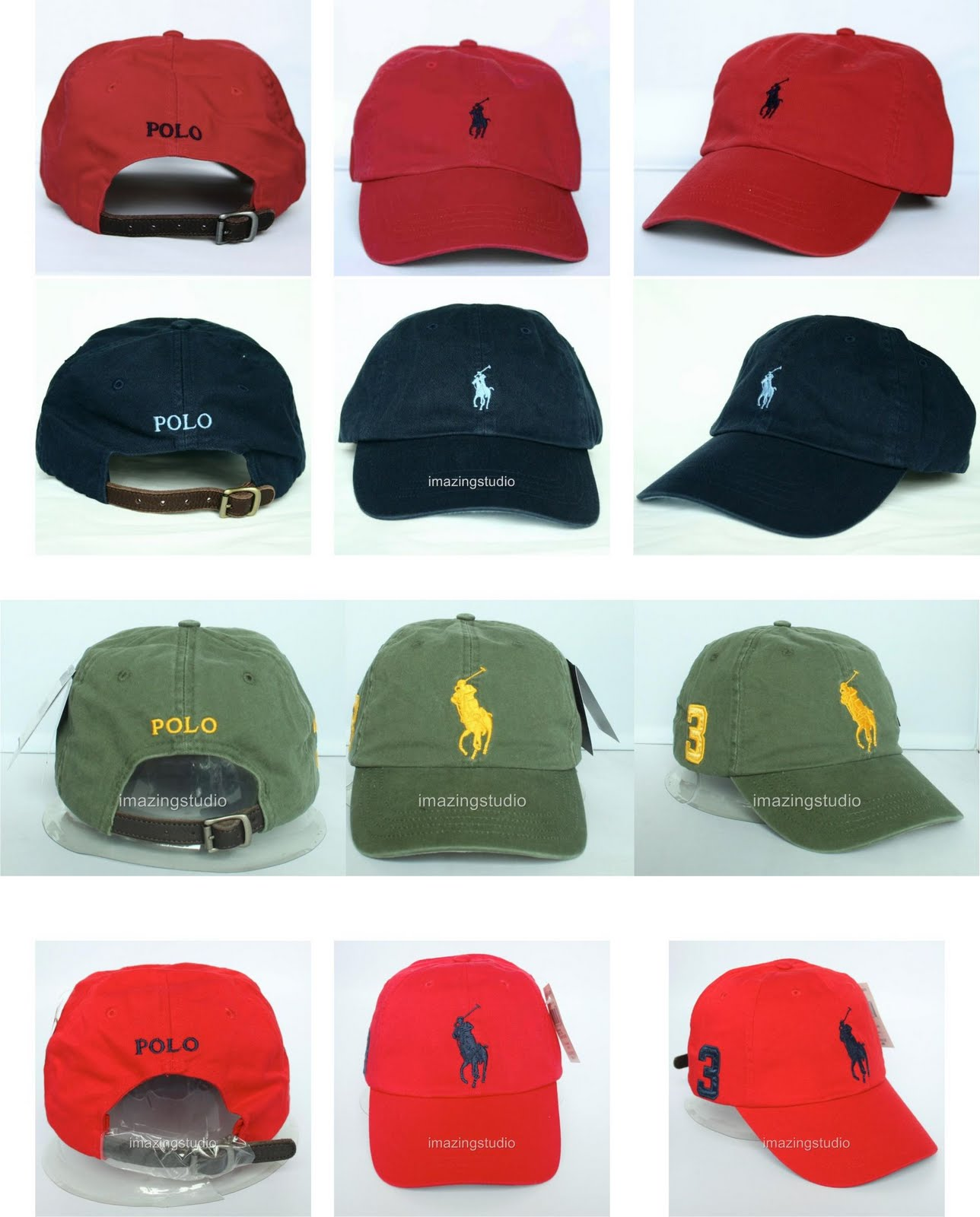 Bonés Ralph Lauren Masculinos. 1ª fileira  Vermelho Small Pony   2ª  fileira  Preto Small Pony   3ª fileira  Verde Big Pony   4ª fileira   Vermelho Big Pony 6ec52aa32a3