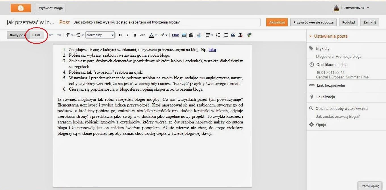Blogger - tryb tworzenia HTML