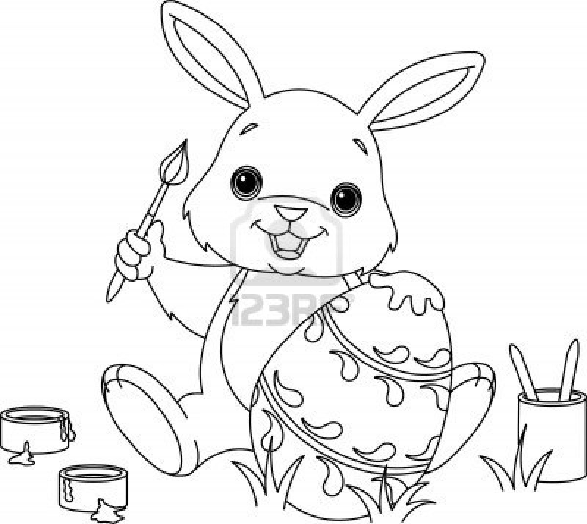 Desenhos Para Colori Coelhos da Páscoa Pintando Ovos desenhar