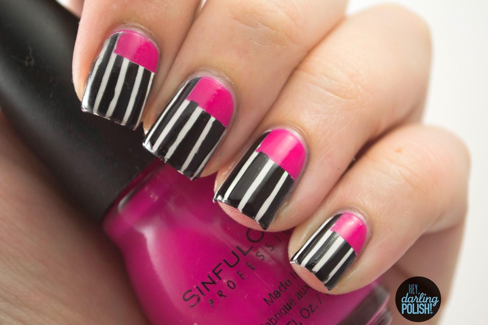 nails, nail art, nail polish, polish, pink, black, white, stripes, hey darling polish, sick of sarah, music monday