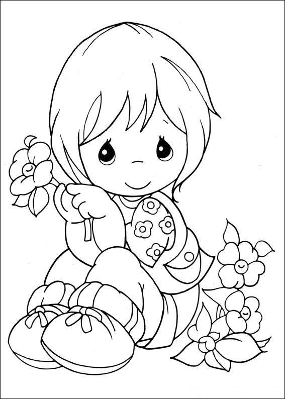 Girl precious moments coloring ~ Child Coloring
