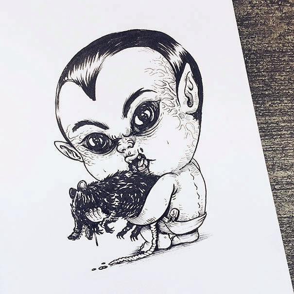 23-Dracula-Alex-Solis-Baby-Terrors-Drawings-Horror-Movie-Villains-www-designstack-co