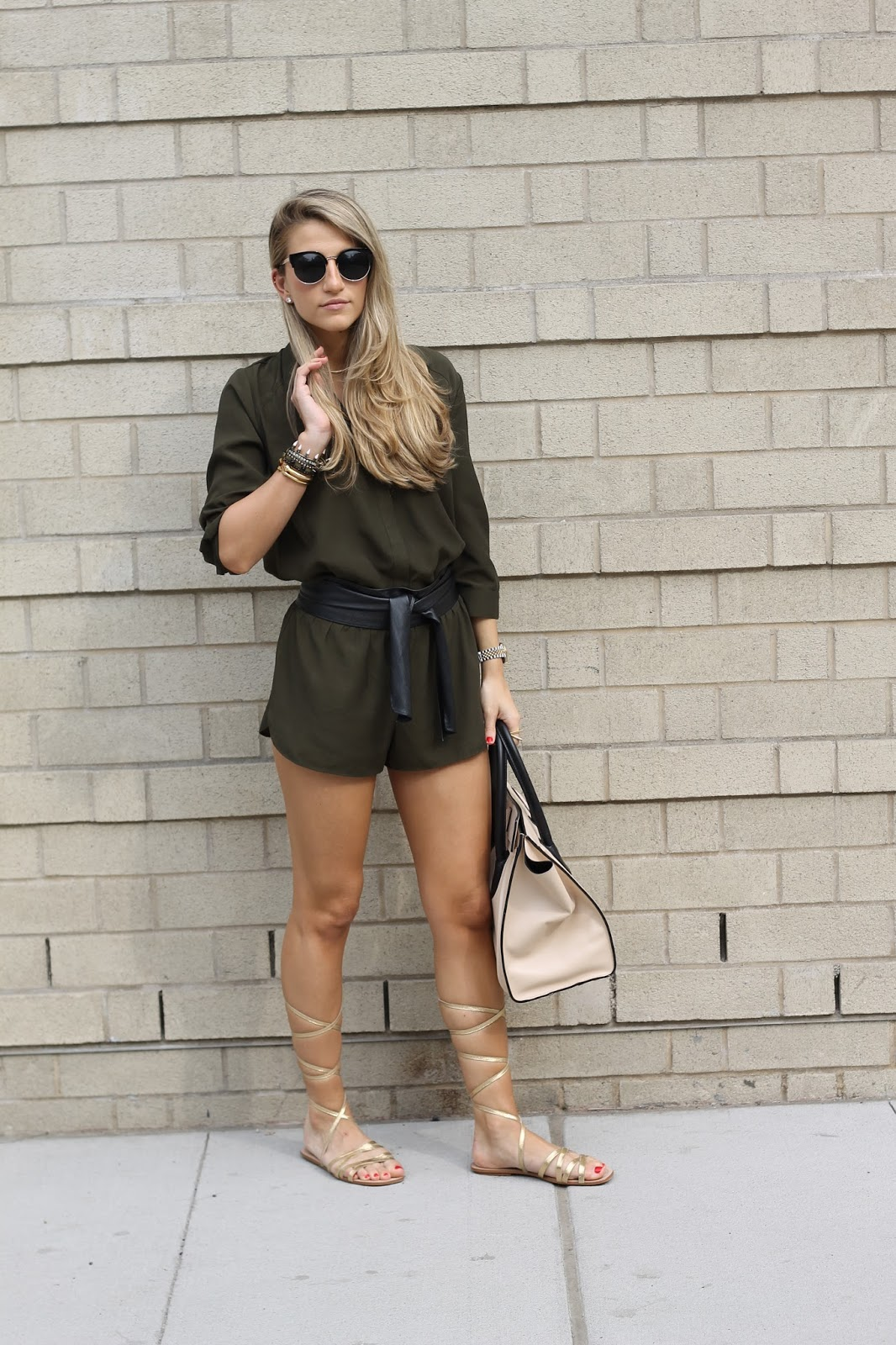 Forever21 Olive Utility Romper, Black leather Sash Belt, Splendid Tayler Lace up Gladiator Sandals, Forever21 Sunglasses, Celine Luggage Tote