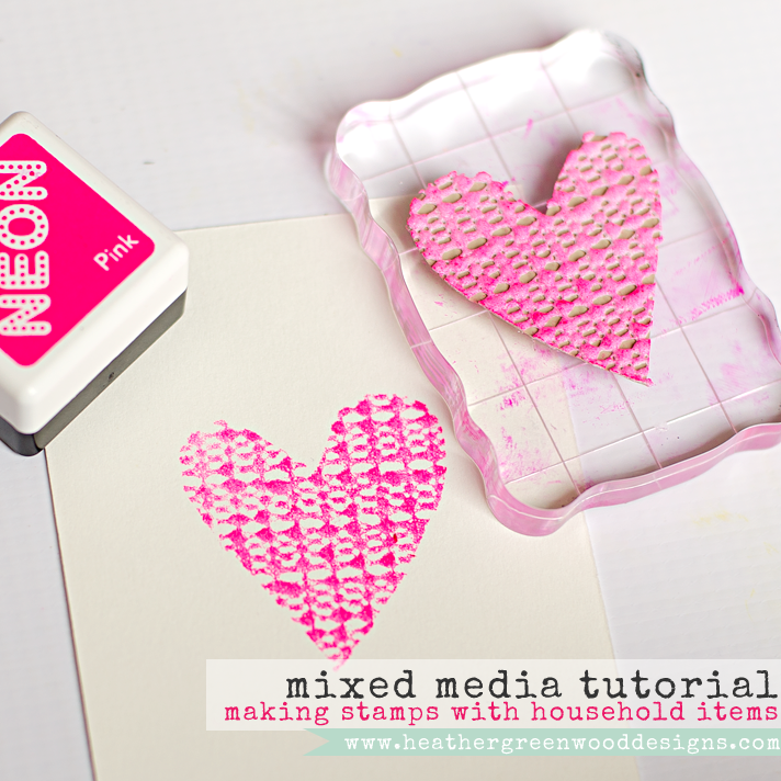 making Valentine heart shaped stamps using household items | mixed media tutorial