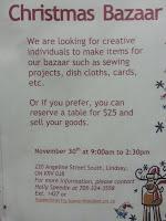 Victoria Manor Lindsay Kawarthas Lakes Christmas Bazaar Poster November 2013