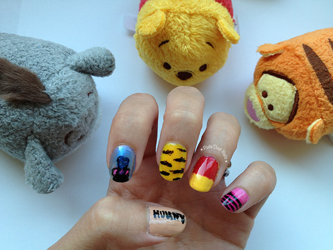 Winnie the Pooh and friends Nail Art with Tsum Tsums