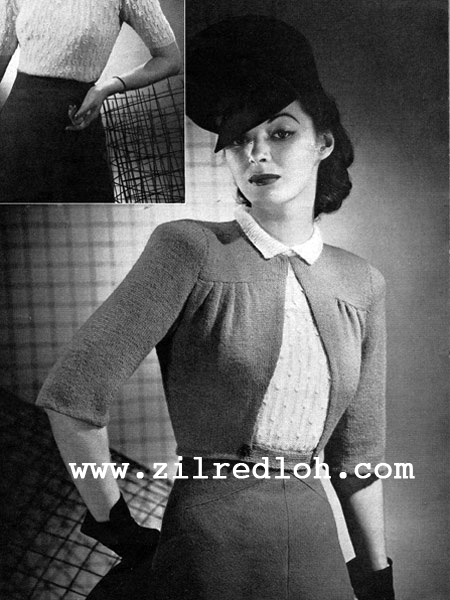 The Vintage Pattern Files: 1940\'s Knitting - The Boulevard Jacket