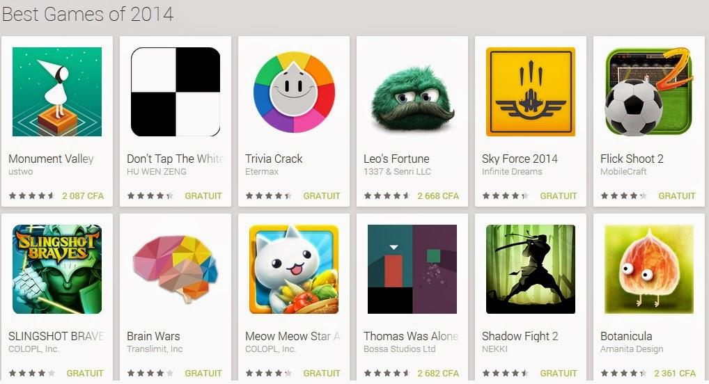 Les 102 meilleurs jeux Android de Google Play