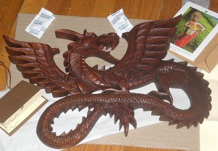 Lovely wooden dragon sculpture from Bali.