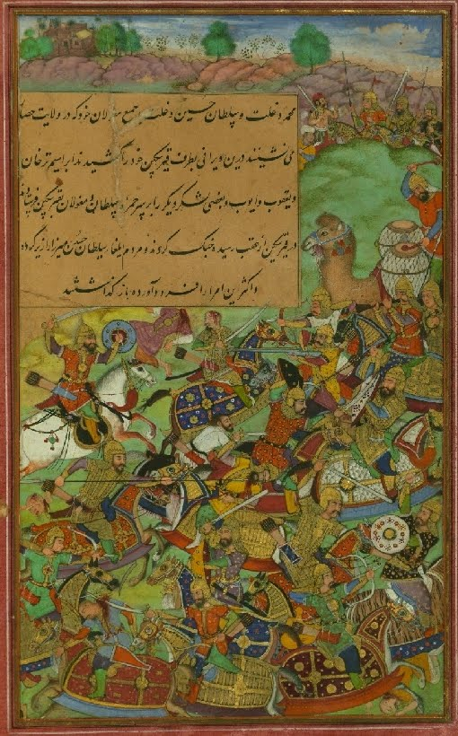 Mughal manuscript miniature of a Persian battle