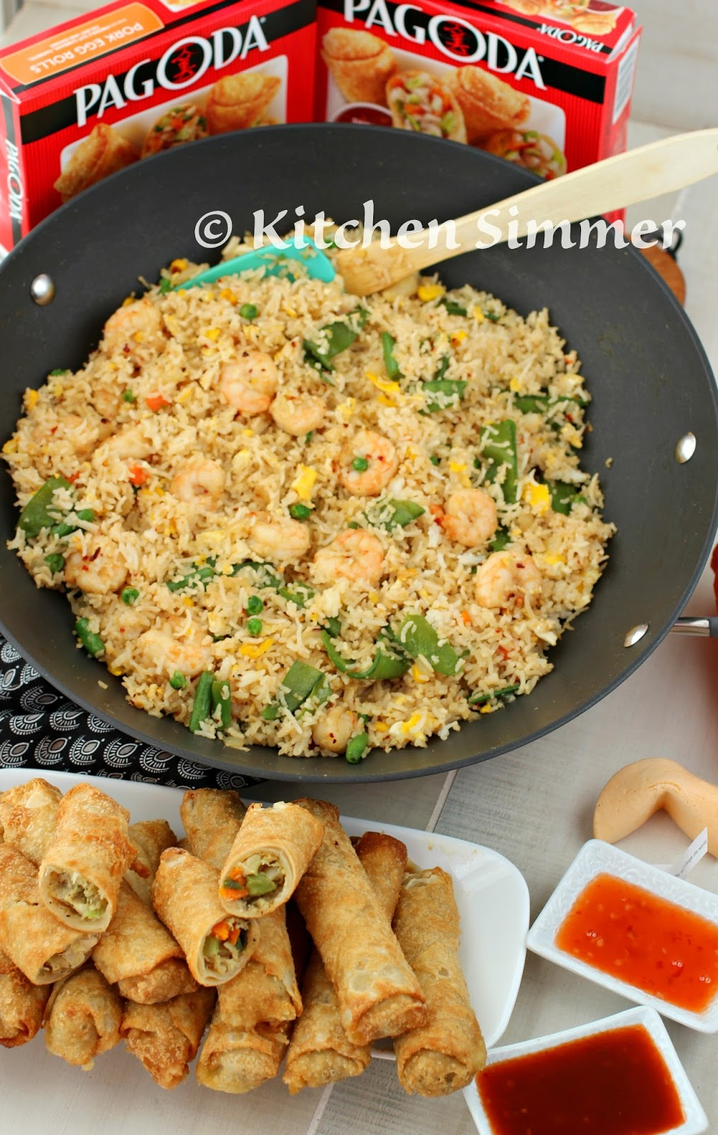 Kitchen simmer easy shrimp fried rice with pagoda egg rolls 4 5 cups cooked and cooled white rice 3 eggs salt and black pepper 2 tbs butter or margarine 2 tbs light oil canola ccuart Choice Image