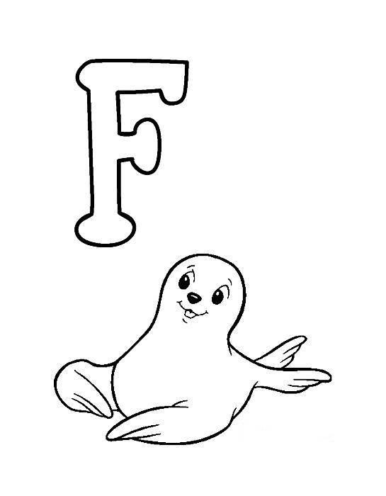 Desenhos Preto e Branco letras do alfabeto letra F Colorir