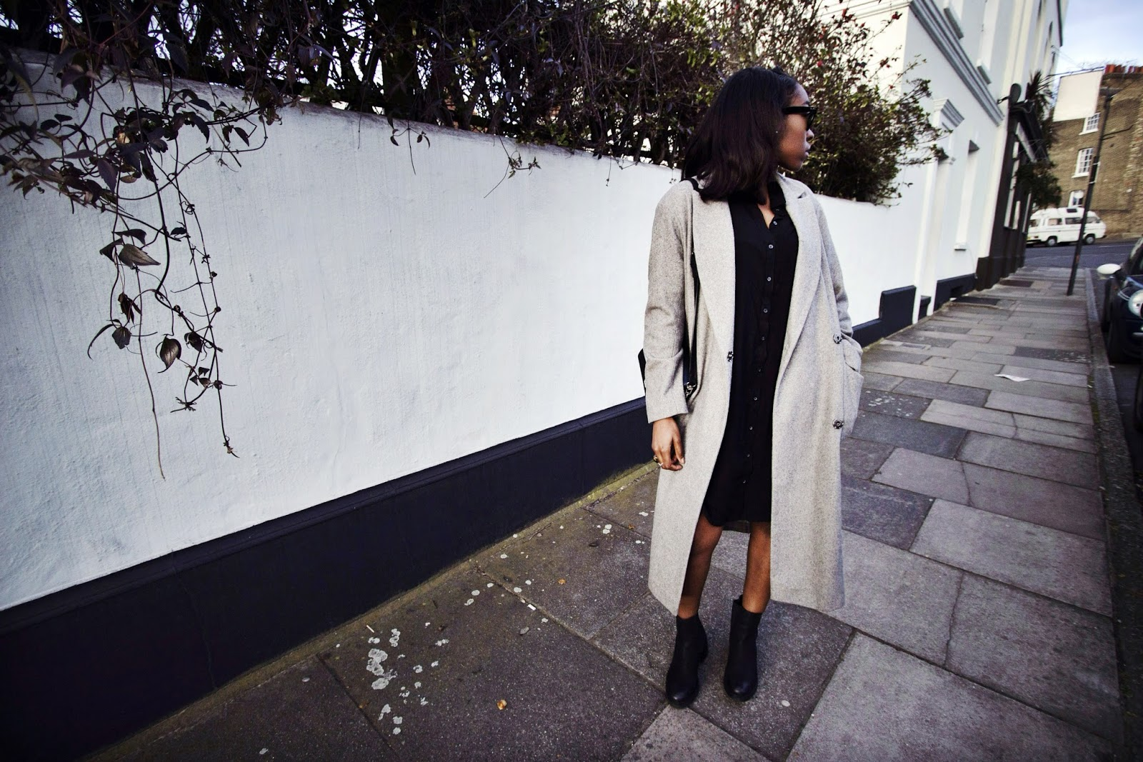 Long Grey Oversized Wool Coat with Black Shirt Dress