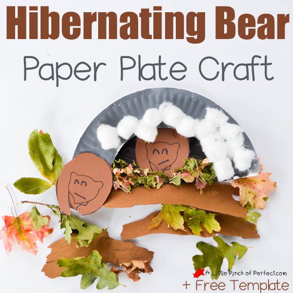 Hibernating Bear Paper Plate Craft and Free Template -
