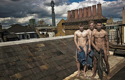 """London rooftops"" is the title of this photoshoot featuring Ben Jordan, Asher Flowers and George Hammond lensed by Leonardo Corredor."
