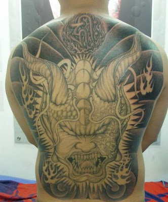 full back free tattoo designs, demon human hybrid face