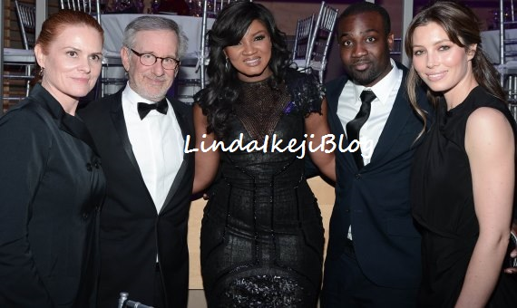 SPOTTED: Omotola Jalade-Ekeinde with Steven Spielberg, Daniel Day-Lewis and Jessica Biel