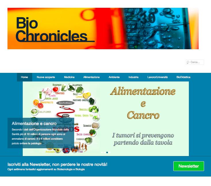 Biochronicles sito web di biotecnologie