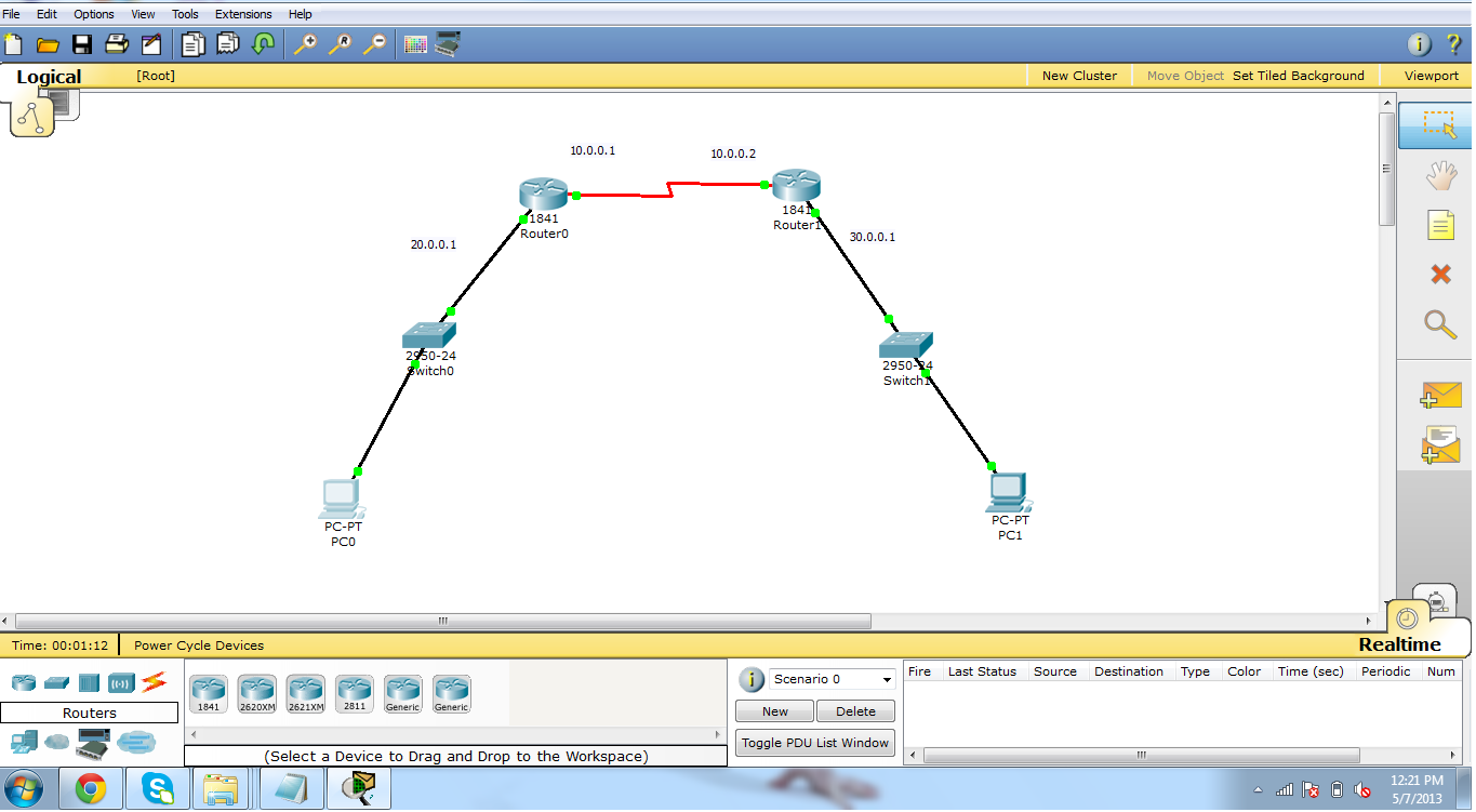 How to perform  static routing in packet tracer