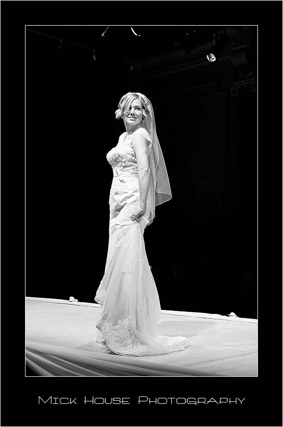 Black and white photo of a wedding dress