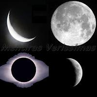 Fases da Lua: Crescente, Cheia, Minguante, Nova.
