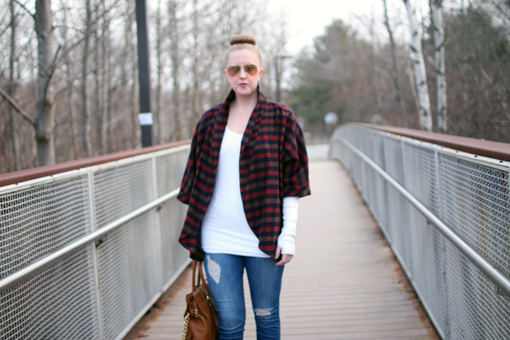 lumberjack vibes, olive and oak nyc, layers, jacket shrug, navy green red