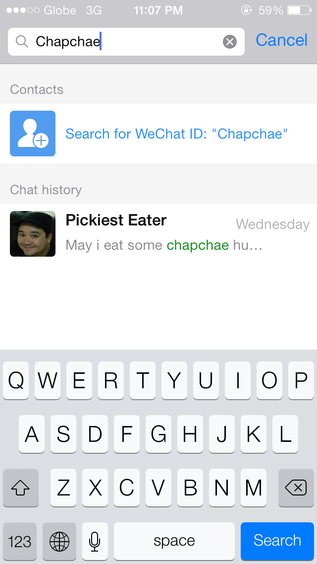 wechat universal search