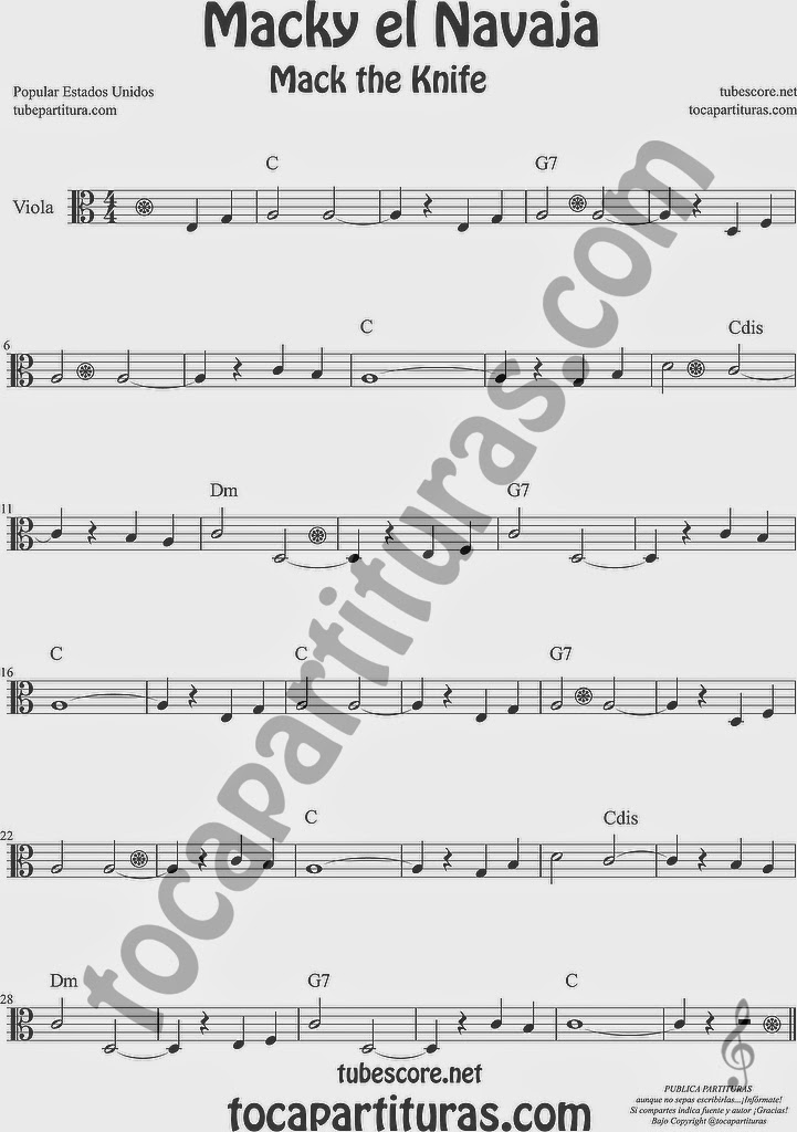 Macky el Navaja Partitura de Viola Sheet Music for Viola Music Score Mack the Knife