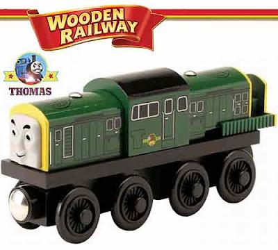 Toy train wooden railway Thomas the tank engine Derek British Rail Class 17 diesel in dark green