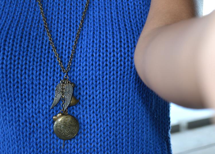 vintage blue cerulean turtle neck