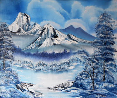 "Original painting  ""Winter in the Mountains "".  A canvas, oil, the mixed equipment of painting, a palette knife. In the style of Bob Ross. The size ~ 19.7""х 23.6"" (50 sm x 60 sm).  This Landscape  looks perfectly  and impressive in the any interior"