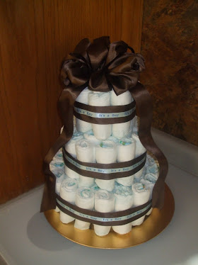Choc Brown and Blue Diaper Cake