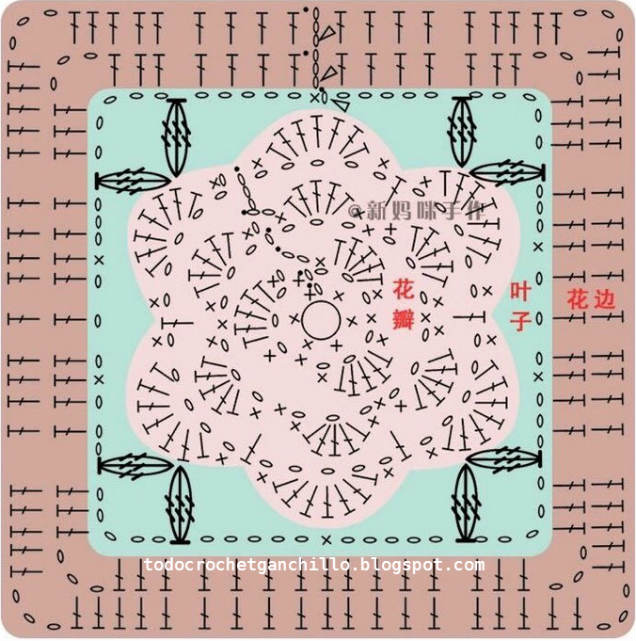 patrones de grannys con centro de flor