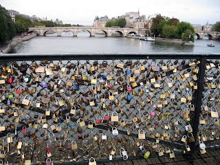 Archeveche Bridge in Paris - padlocks for lovers.