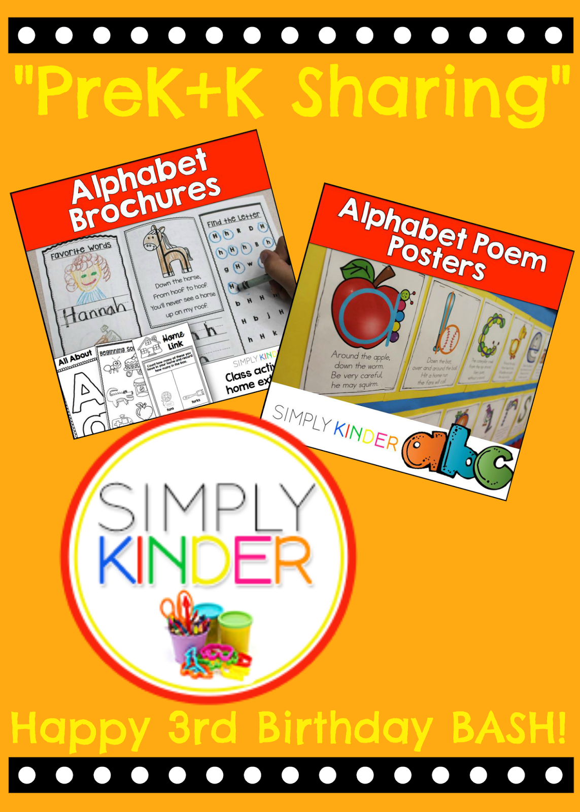 PreK+K Sharing Collaboration: THIRD Birthday Celebration Give Away prizes from Simply Kinder