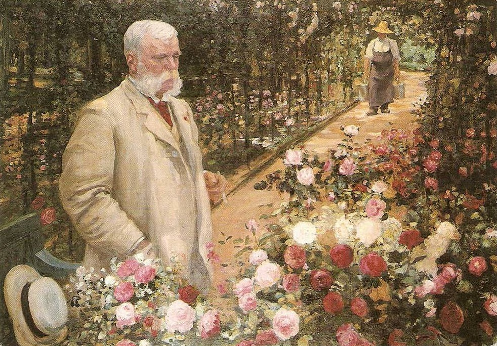 Jules GRAVEREAUX dans sa roseraie de L'Haÿ