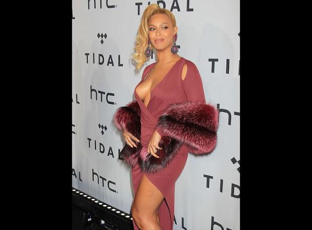 PHOTOS Beyoncé ose un décolleté pour une soirée Tidal