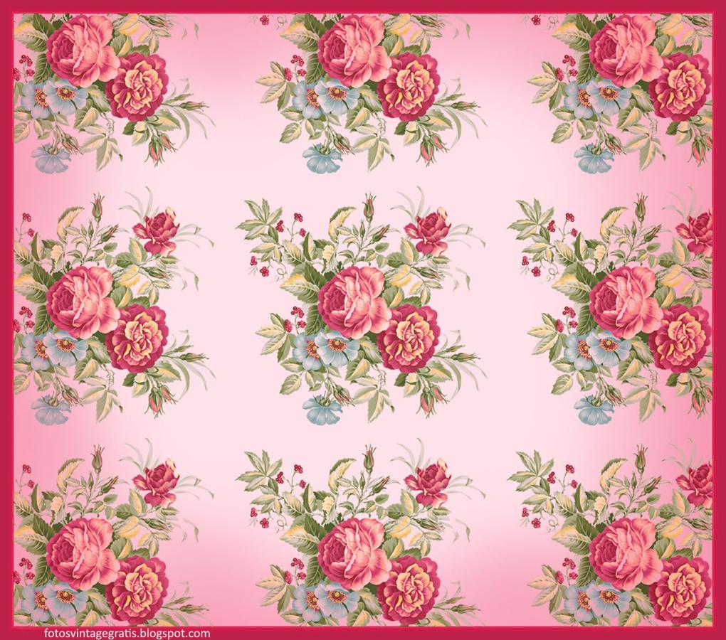 Fondo Vintage Con Flores Rosas