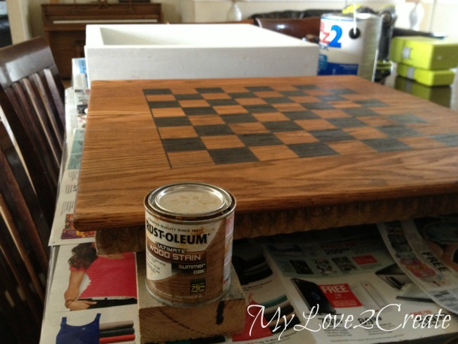 Staining table top with chess/checkers board