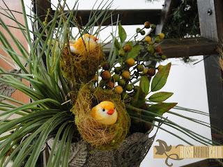 escada, arranjo, passarinho, ninha, balde, decoração