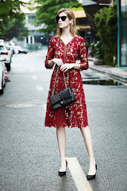 Wine Red Big Floral Crochet Lace Brown Base Past Knee Length Dress