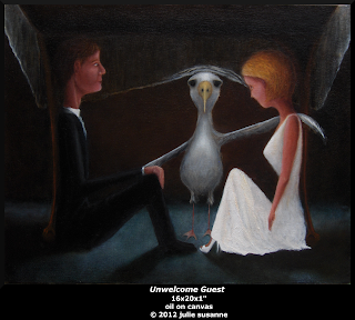 Unwelcome Guest- oil painting by julie susanne