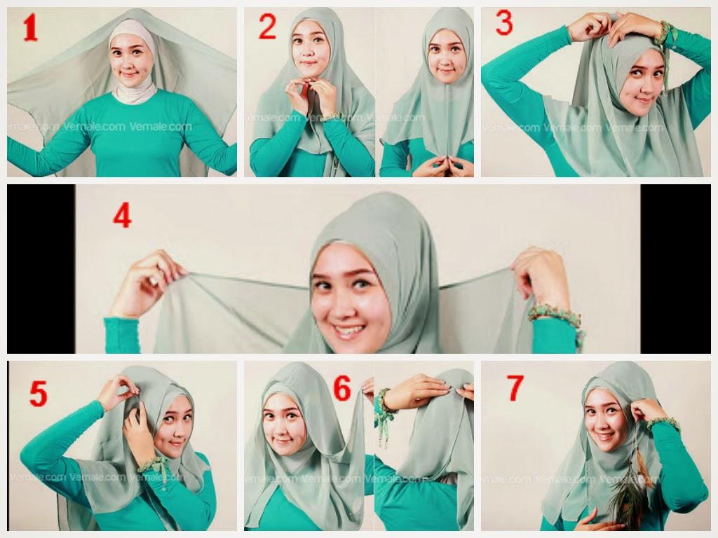 Demikian gambar cara menggunakan/memakai jilbab segi empat modern yang ...