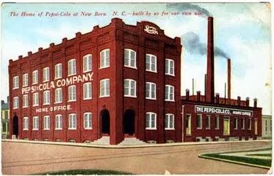 Ilustração da primeira fábrica da Pepsi-Cola na Carolina do Norte.