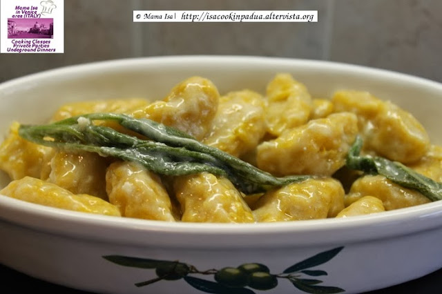 Green Winter Squash Gnocchi with Butter, Sage, Parmesan cheese sauce (recipe courtesy of the Chef Mama Isa)
